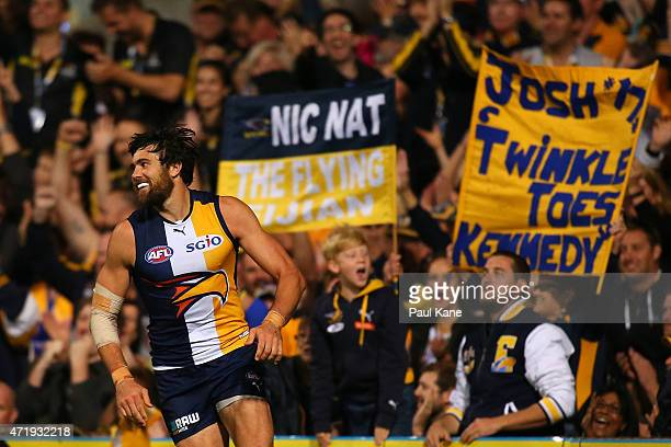 Josh Kennedy of the Eagles celebrates a goal during the round five AFL match between the West Coast Eagles and the Greater Western Sydney Giants at...