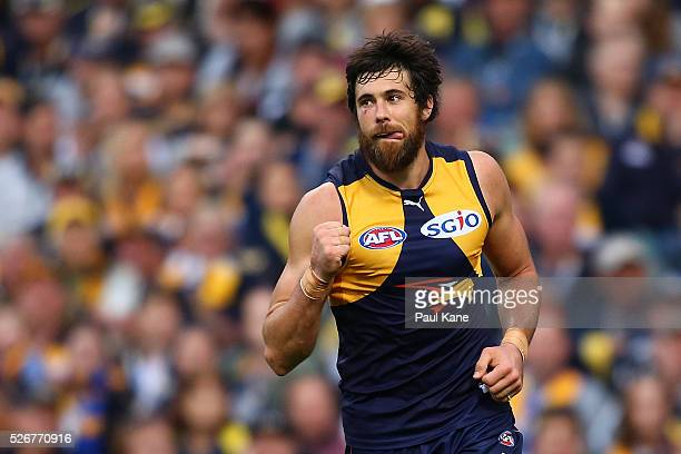 Josh Kennedy of the Eagles celebrates a goal during the round six AFL match between the West Coast Eagles and the Collingwood Magpies at Domain...