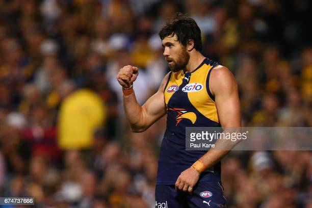Josh Kennedy of the Eagles celebrates a goal during the round six AFL match between the West Coast Eagles and the Fremantle Dockers at Domain Stadium...