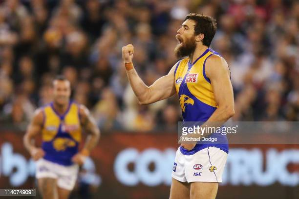Josh Kennedy of the Eagles celebrates a goal during the round three AFL match between the Collingwood Magpies and the West Coast Eagles at Melbourne...