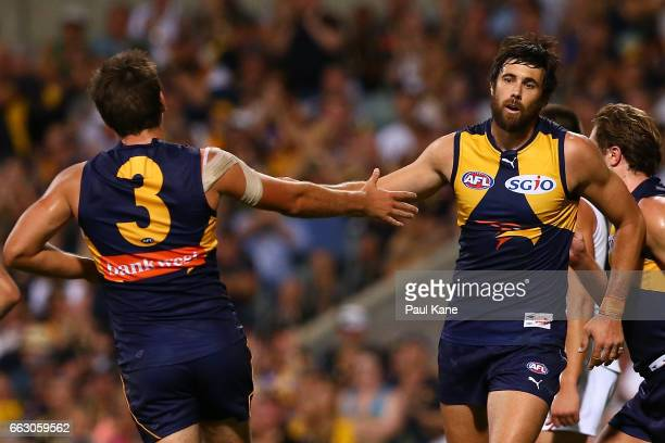 Josh Kennedy of the Eagles celebrates a goal with Andrew Gaff during the round two AFL match between the West Coast Eagles and the St Kilda Saints at...
