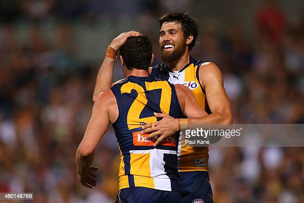 Josh Kennedy of the Eagles celebrates a goal with Jack Darling during the round one AFL match between the West Coast Eagles and the Western Bulldogs...