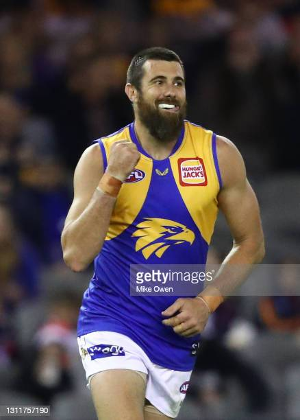 Josh Kennedy of the Eagles celebrates after kicking a goal during the round four AFL match between the St Kilda Saints and the West Coast Eagles at...