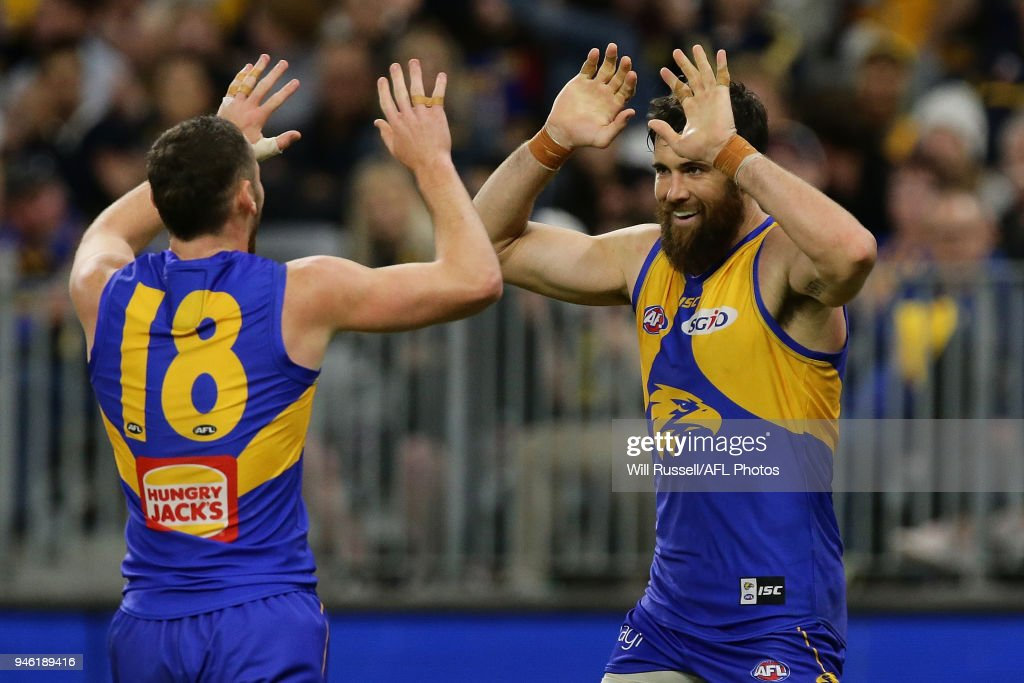 Josh Kennedy of the Eagles celebrates after scoring a goal during the round four AFL match between the West Coast Eagles and the Gold Coast Suns at Optus Stadium on April 14, 2018 in Perth, Australia.