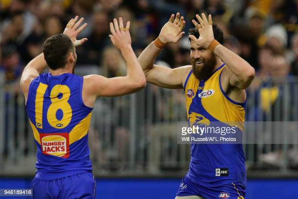Josh Kennedy of the Eagles celebrates after scoring a goal during the round four AFL match between the West Coast Eagles and the Gold Coast Suns at...