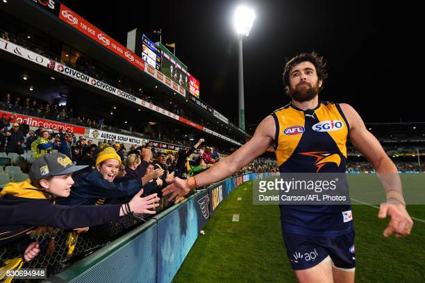 Josh Kennedy of the Eagles celebrates with the fans during the 2017 AFL round 21 match between the West Coast Eagles and the Carlton Blues at Domain...