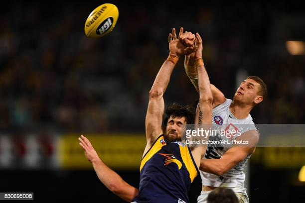 Josh Kennedy of the Eagles competes for a mark with Liam Jones of the Blues during the 2017 AFL round 21 match between the West Coast Eagles and the...