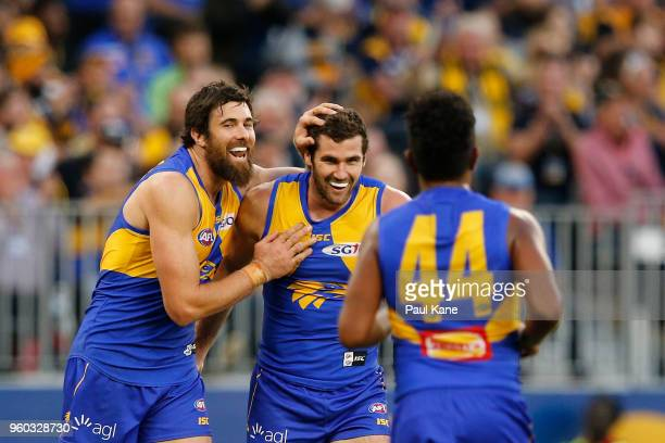 Josh Kennedy of the Eagles congratulates Jack Darling after kicking a goal during the round nine AFL match between the West Coast Eagles and the...