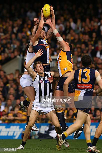 Josh Kennedy of the Eagles flys for a mark during the round 22 AFL match between the West Coast Eagles and the Collingwood Magpies at Patersons...