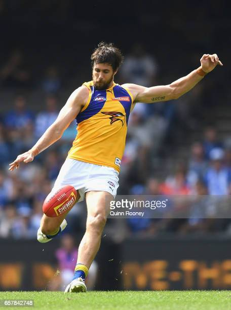 Josh Kennedy of the Eagles kicks during the round one AFL match between the North Melbourne Kangaroos and the West Coast Eagles at Etihad Stadium on...