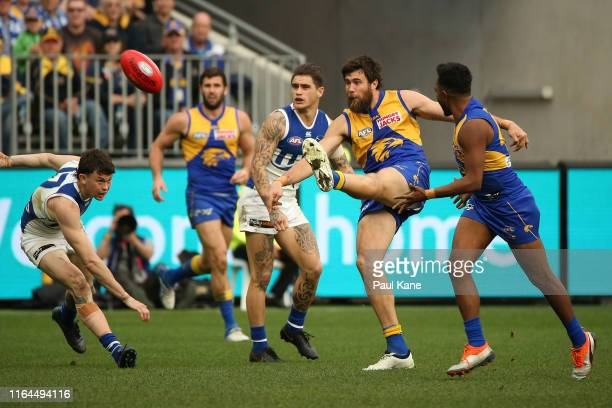 Josh Kennedy of the Eagles kicks his 600th goal during the round 19 AFL match between the West Coast Eagles and the North Melbourne Kangaroos at...