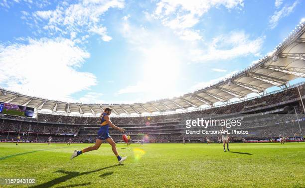 Josh Kennedy of the Eagles kicks on goal during the 2019 AFL round 19 match between the West Coast Eagles and the North Melbourne Kangaroos at Optus...
