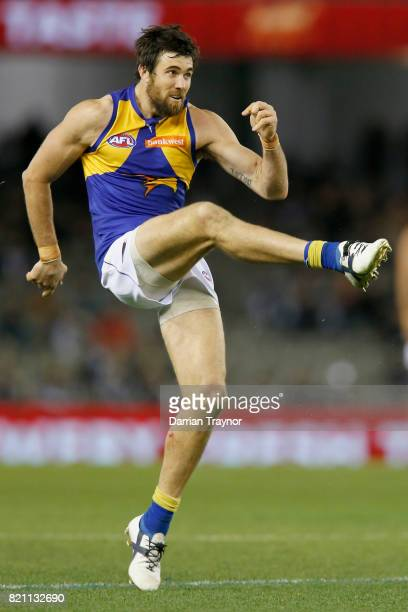 Josh Kennedy of the Eagles kicks the ball during the round 18 AFL match between the Collingwood Magpies and the West Coast Eagles at Etihad Stadium...