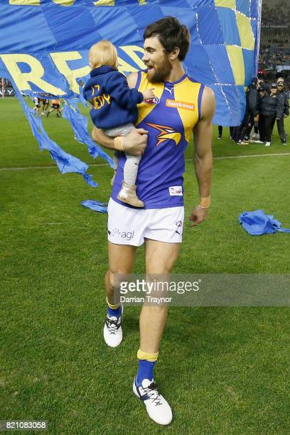 Josh Kennedy of the Eagles runs out for his 200th game during the round 18 AFL match between the Collingwood Magpies and the West Coast Eagles at...