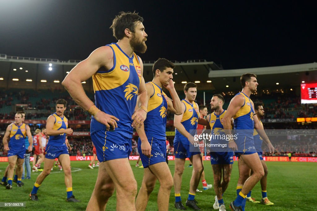 Josh Kennedy of the Eagles shows his dejection after defeat during the round 13 AFL match between the Sydney Swans and the West Coast Eagles at Sydney Cricket Ground on June 15, 2018 in Sydney, Australia.