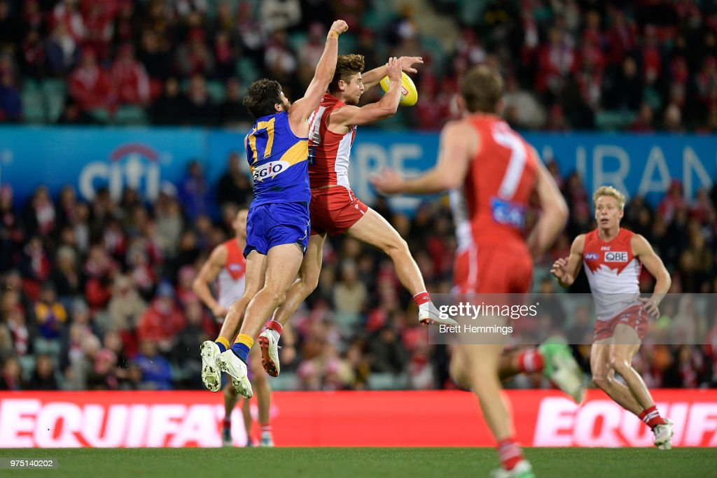 Josh Kennedy of the Eagles spoils a mark by Dane Rampe of the Swans during the round 13 AFL match between the Sydney Swans and the West Coast Eagles at Sydney Cricket Ground on June 15, 2018 in Sydney, Australia.