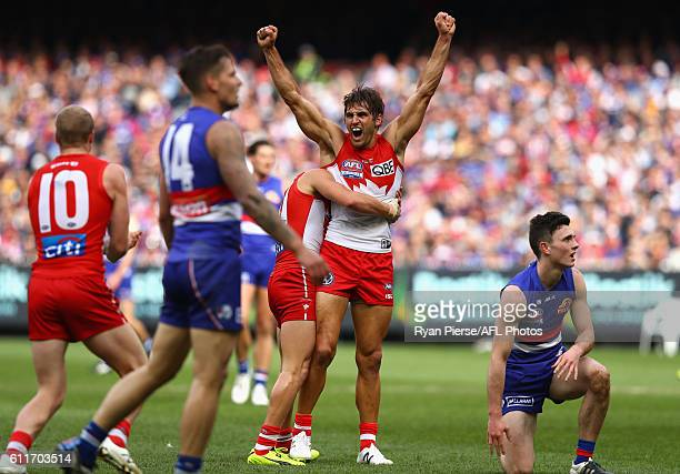 Josh Kennedy of the Swans celebrates a goal during the 2016 Toyota AFL Grand Final match between the Sydney Swans and the Western Bulldogs at the...