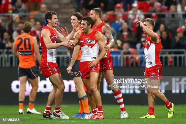 Josh Kennedy of the Swans celebrates kicking a goal during the round 17 AFL match between the Greater Western Sydney Giants and the Sydney Swans at...