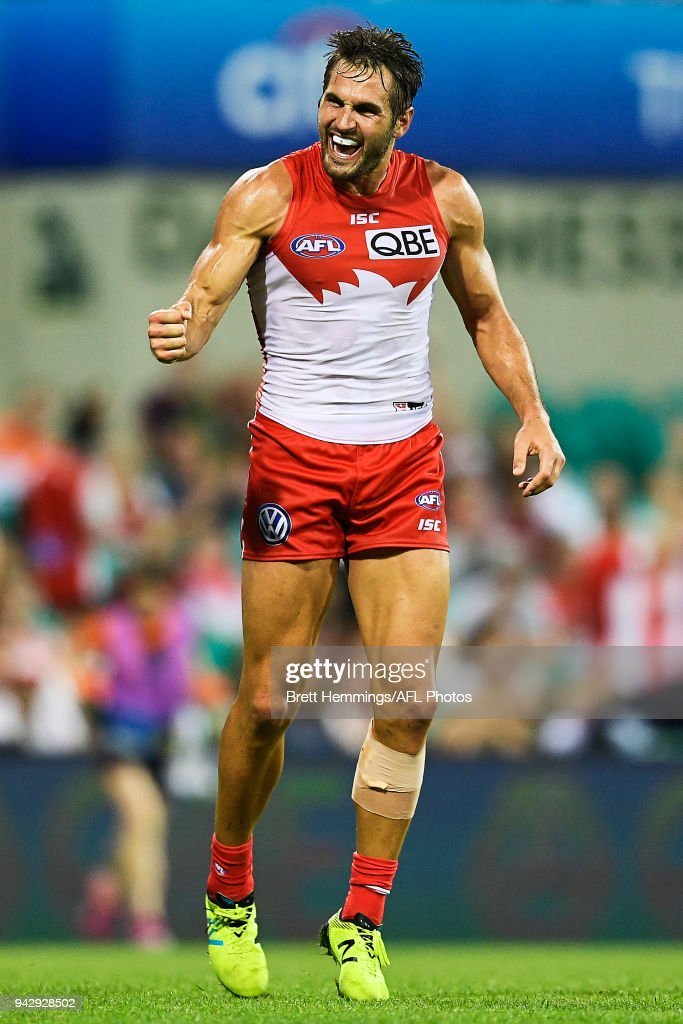 Josh Kennedy of the Swans celebrates kicking a goal during the round three AFL match between the Sydney Swans and the Greater Western Sydney Giants at Sydney Cricket Ground on April 7, 2018 in Sydney, Australia.