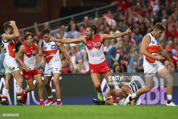 Josh Kennedy of the Swans celebrates kicking a goal during the round three AFL match between the Sydney Swans and the Greater Western Sydney Giants...