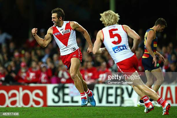 Josh Kennedy of the Swans celebrates scoring a goal during the round 18 AFL match between the Sydney Swans and the Adelaide Crows at Sydney Cricket...