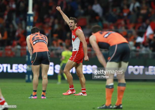 Josh Kennedy of the Swans celebrates victory during the round 17 AFL match between the Greater Western Sydney Giants and the Sydney Swans at Spotless...