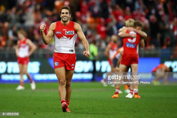 Josh Kennedy of the Swans celebrates winning the round 17 AFL match between the Greater Western Sydney Giants and the Sydney Swans at Spotless...