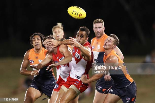 Josh Kennedy of the Swans follows the ball during the 2019 JLT Community Series AFL match between the Greater Western Sydney Giants and the Sydney...