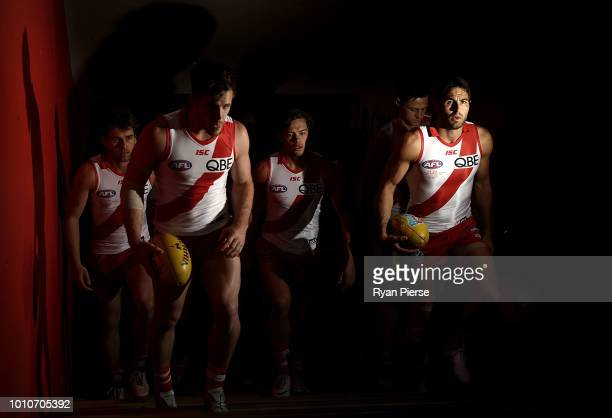 Josh Kennedy of the Swans leads his team out during the round 20 AFL match between the Sydney Swans and the Collingwood Magpies at Sydney Cricket...
