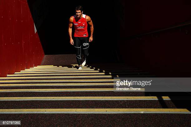 Josh Kennedy of the Swans leaves the dressing room prior to a Sydney Swans AFL media session at Sydney Cricket Ground on September 28 2016 in Sydney...