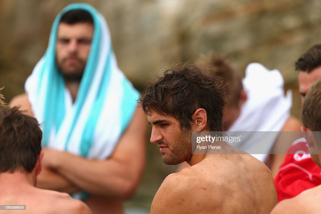 Josh Kennedy of the Swans looks on during a recovery session at Coogee Beach on September 15, 2013 in Sydney, Australia.