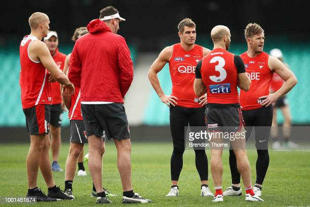 Josh Kennedy of the Swans looks on during a Sydney Swans AFL training session at the Sydney Cricket Ground on July 19 2018 in Sydney Australia