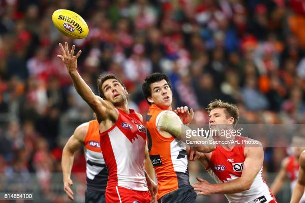 Josh Kennedy of the Swans reaches for the ball during the round 17 AFL match between the Greater Western Sydney Giants and the Sydney Swans at...