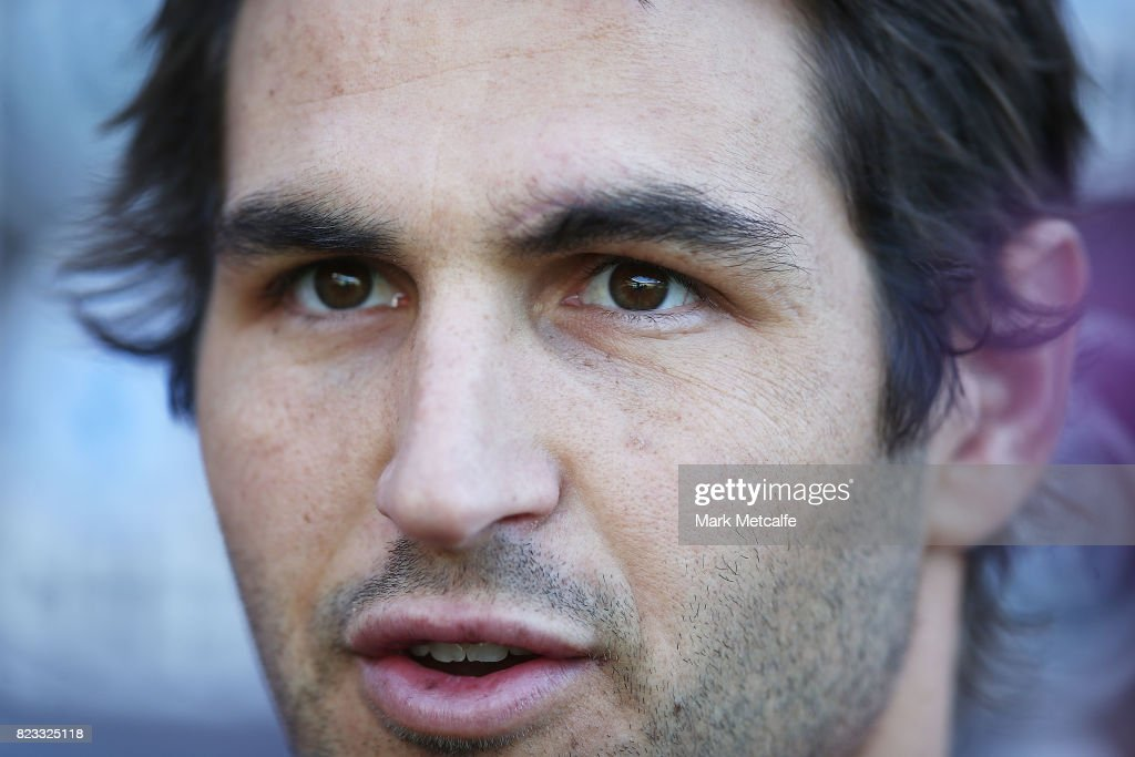 Josh Kennedy talks to the media during a Sydney Swans AFL training session at Sydney Cricket Ground on July 26, 2017 in Sydney, Australia.