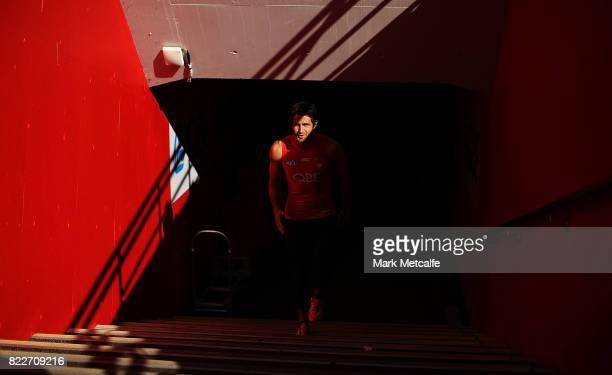 Josh Kennedy walks up the race during a Sydney Swans AFL training session at Sydney Cricket Ground on July 26 2017 in Sydney Australia