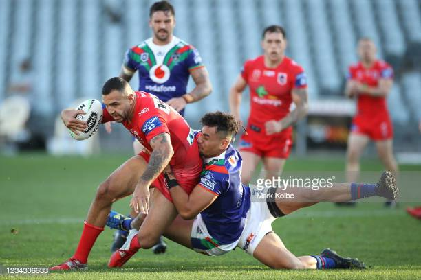 Josh Kerr of the Dragons is tackled during the round three NRL match between the New Zealand Warriors and the St George Illawarra Dragons at Central...