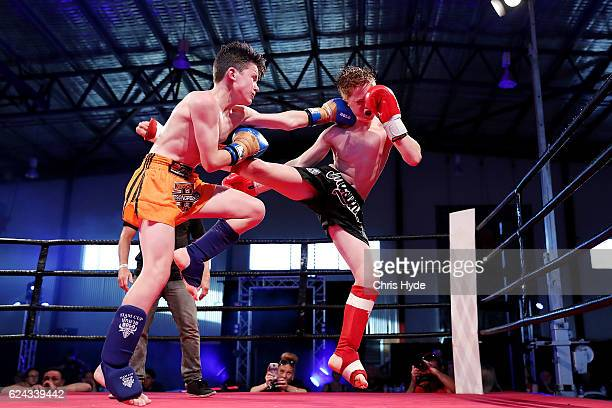 NOVEMBER 19 Josh King and Kane Singleton fight during the Muay Thai fight in the Siam Junior show at Eagle sports complex on November 19 2016 in...