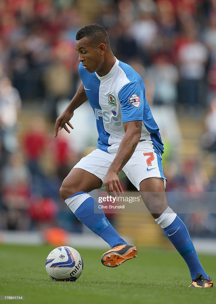 Josh King of Blackburn Rovers in action during the Sky Bet Championship match between Blackburn Rovers and Nottingham Forest at Ewood Park on August 10, 2013 in Blackburn, England,
