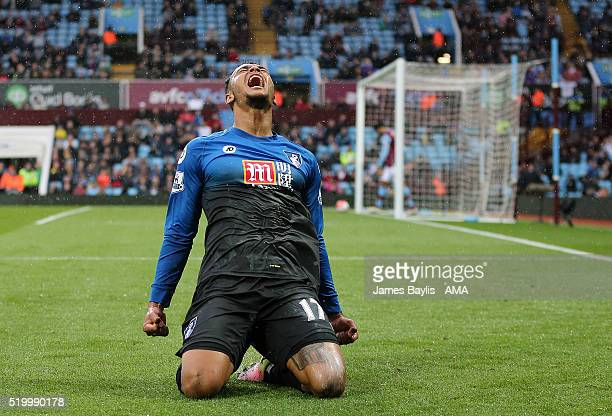 Josh King of Bournemouth celebrates after scoring a goal to make it 02 during the Barclays Premier League match between Aston Villa and AFC...