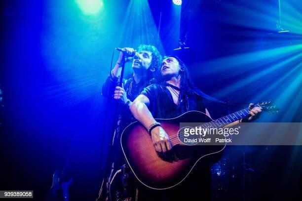 Josh Kiszka and Danny Wagner from Greta Van Fleet perform on March 28, 2018 in Paris, France.