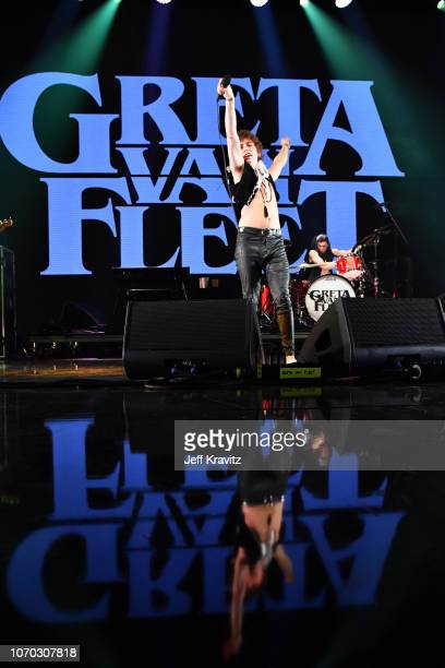 Josh Kiszka and Danny Wagner of Greta Van Fleet perform onstage during KROQ Absolut Almost Acoustic Christmas 2018 at The Forum on December 8, 2018...