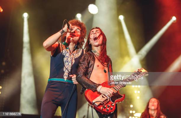 Josh Kiszka and Jake Kiszka from the band Greta Van Fleet perfoms on stage at Madcool Festival on July 13, 2019 in Madrid, Spain.