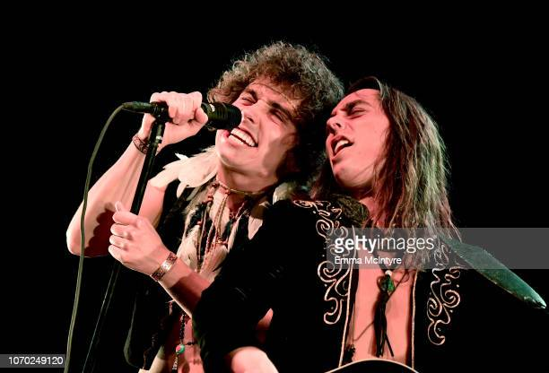 Josh Kiszka and Jake Kiszka of the band Greta Van Fleet performs on stage during the KROQ Absolut Almost Acoustic Christmas at The Forum on December...