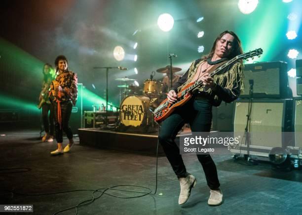 Josh Kiszka Danny Wagner and Jake Kiszka of Greta Van Fleet performs at a sold out show at The Fillmore Detroit on May 25 2018 in Detroit Michigan