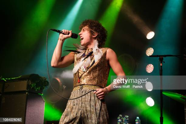 Josh Kiszka from Greta Van Fleet performs at l' Elysee Montmarte on October 26 2018 in Paris France