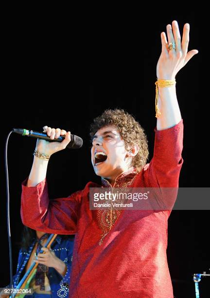 Josh Kiszka of Greta Van Fleet performs during the Elton John AIDS Foundation 26th Annual Academy Awards Viewing Party at The City of West Hollywood...