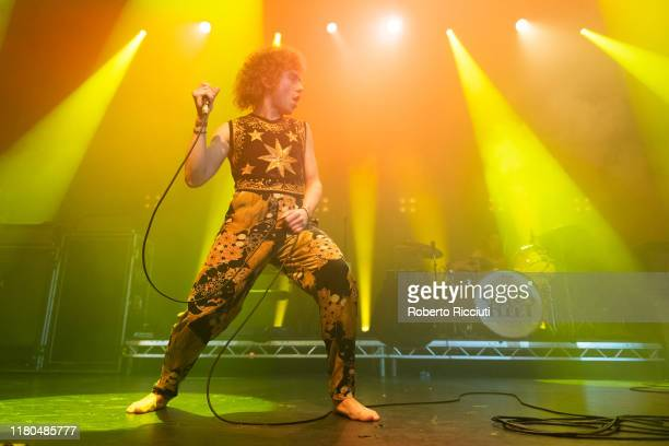 Josh Kiszka of Greta Van Fleet performs on stage at O2 Academy Glasgow on November 6 2019 in Glasgow Scotland