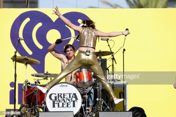 Josh Kiszka of Greta Van Fleet performs onstage during the 2018 iHeartRadio Music Festival Daytime Stage at the Las Vegas Festival Grounds on...