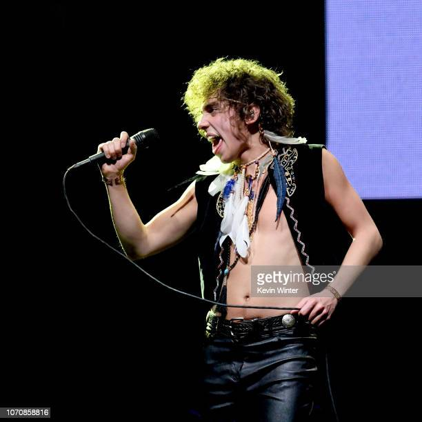 Josh Kiszka of the band Greta Van Fleet performs on stage during the KROQ Absolut Almost Acoustic Christmas at The Forum on December 8 2018 in...