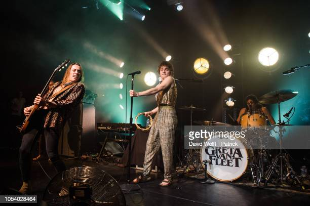 Josh Kiszka Sam Kiszka Jake Kiszka and Danny Wagner from Greta Van Fleet perform at l' Elysee Montmartre on October 26 2018 in Paris France